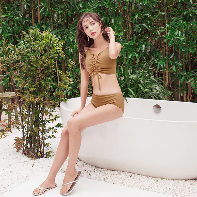 Swimsuit Separate Push Up Sexy Bathing Suit Women Swimsuits Woman 2019 Two Pieces Korea Swimwear Female Belly New Piece Solid