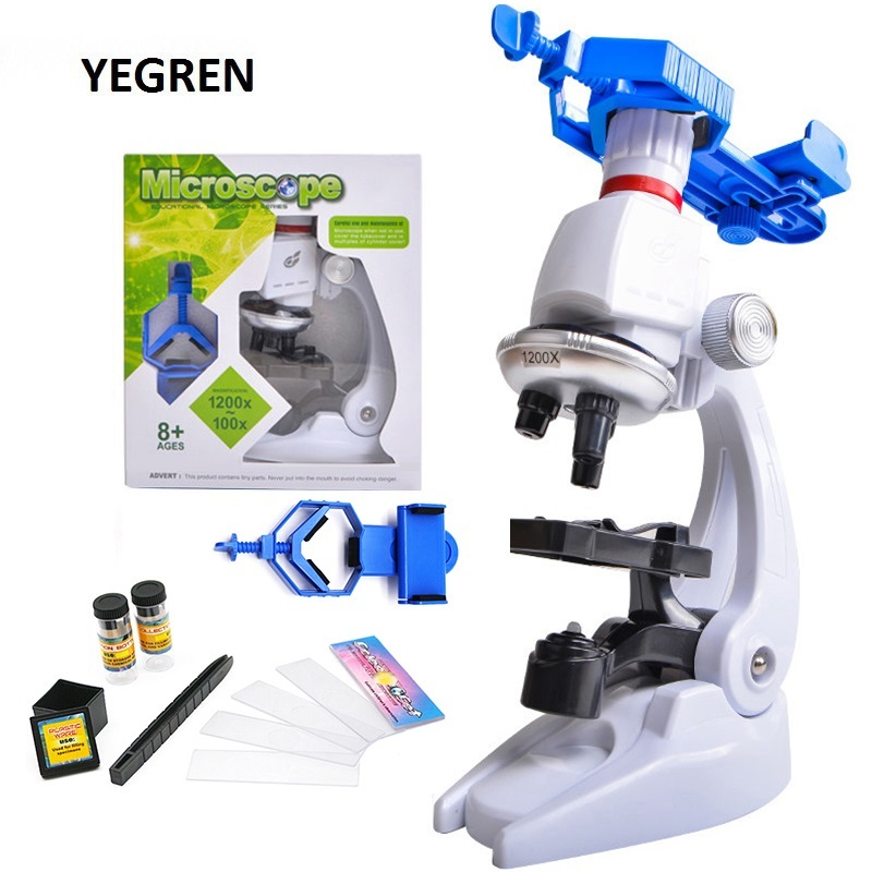 1200X Children Toy Biological Microscope Set Gift Monocular Microscope With Mount Biological Experiment Tool F/ Primary Student