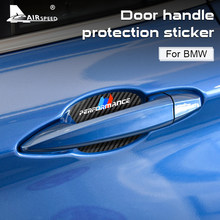 AIRSPEED 4pcs Vinyl Carbon Car Door Handle Protection Sticker Decal for BMW 1 2 3 4 5 7 Series X1 X3 X4 X5 X6 3 5 GT Accessories