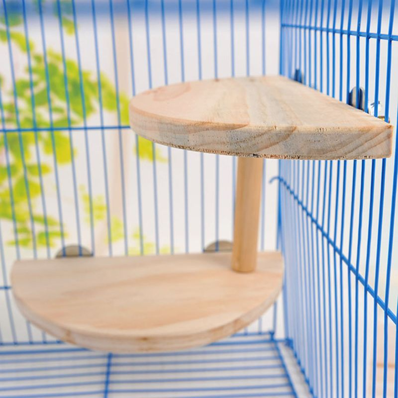 2 Layer Bird Wooden Platform For Chinchilla Hamster Small Animals Exercise Toy PXPC