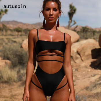 Autuspin Women's Swimsuit Cut Out Bathing Suits One Piece Bikini Sexy Backless Swimwear for Women Solid Black Beach Swimsuits one piece baths women s swimsuits swimsuit sport women maios for beach 2018 new sexy ladies solid polyester sierra surfer