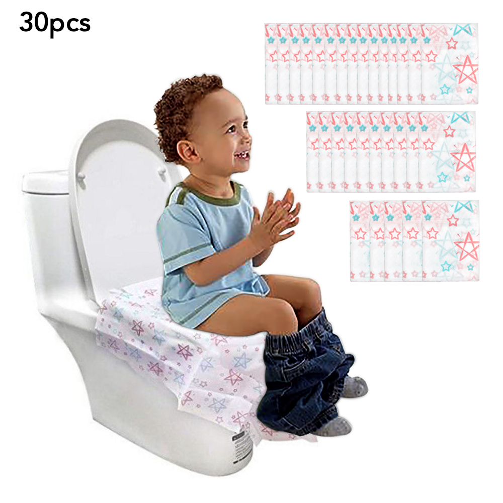 일회용 방수 변기 커버 용지 어린이를위한 대형 휴대용 변기 프로텍터 임산부 공용 화장실