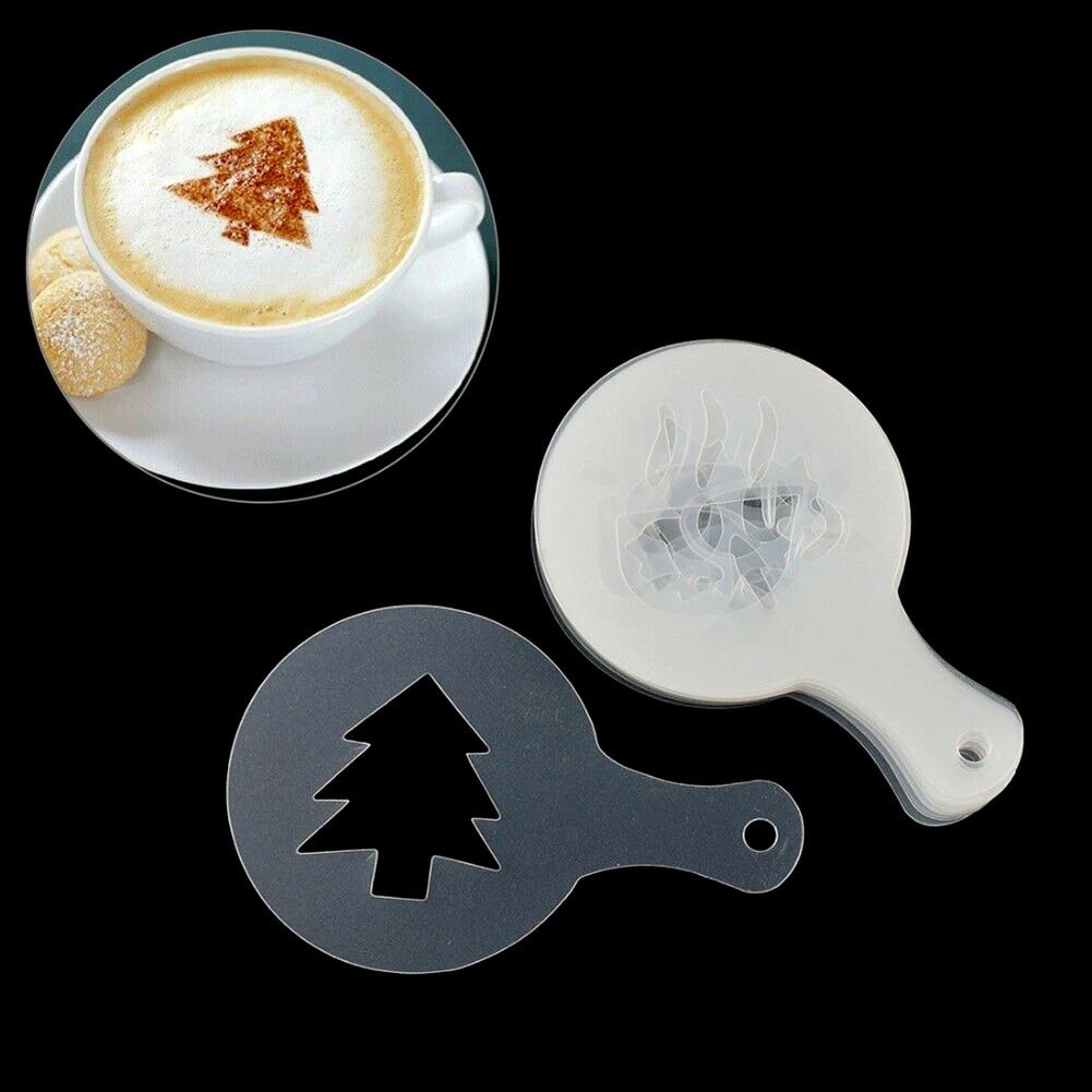 Креативные формы для украшения кофе, инструменты, толстые причудливые кофейные молочные пены, пластиковые формы для печати цветов, 16/шт, шаблон бариста