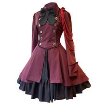 gothic lolita dress plus size Fashion Women Vintage Long Sleeve Gothic Court Square Collar Patchwork Cute Princess Small Dress(China)