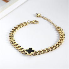 New hot selling thick chain clover Bracelet women's elegant titanium steel hand decoration girl all kinds of accessories