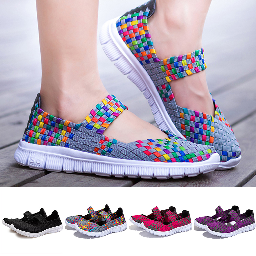 Women Mesh Woven Flat Shoes Casual Slip On Breathable Soft Platform Summer Sneakers Fashion Light Weight Elastic Trainer Sandals