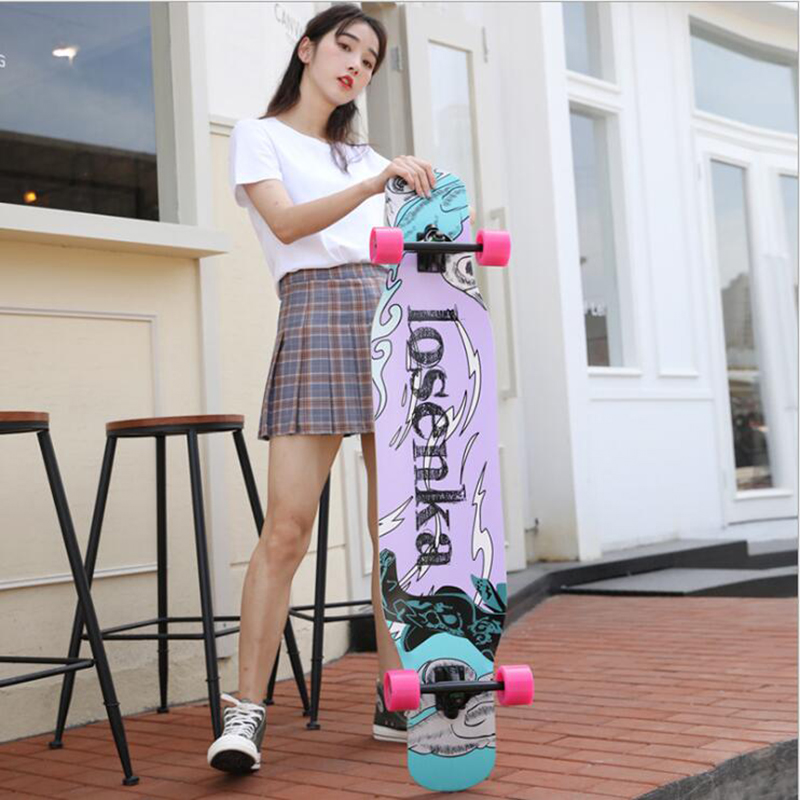 MS406 Long Board Four-wheeled Adult Skateboarding Russia Maple Skate Dancing Skateboard 30 Color