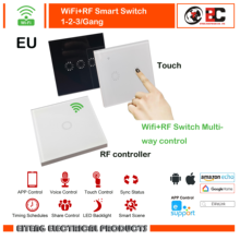 Wifi+RF  Smart Switch 1Gang 2Gang 3Gang 1Way Wireless Remote Light Relay App Control Work with Alexa Google HomeTouch Touch EU