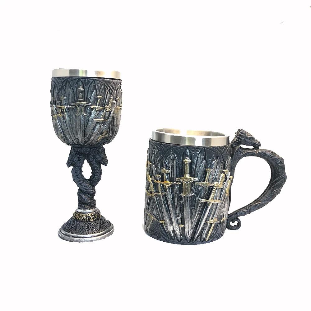 Game of Thrones Mug Goblet Stainless Steel Resin 3D Beer Tankard Coffee Cup