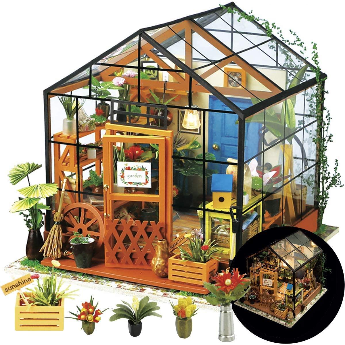 Мебель для кукольного домика «сделай сам», миниатюрные строительные комплекты, большой кукольный домик, комплект Roombox, вилла, сад, деревянны...