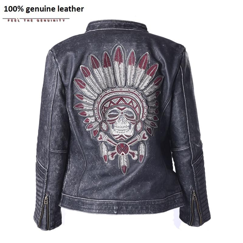 Factory Vintage Skull Leather Motorcycle Jacket Men 100% Cowhide Genuine Leather Coat Men's Motor Biker Leather Jackets ZH084