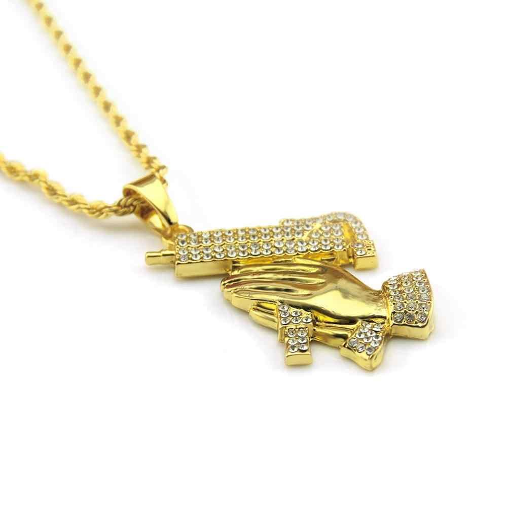 Hip Hop Rhinestones Bling Iced OUT GOLD ปืนมือสวดมนต์จี้สร้อยคอผู้ชาย Rapper เครื่องประดับ Drop Shipping