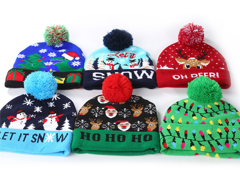 H45b41dc284804c65b8a22101466868c7J - LED Light Christmas Hats Beanie Sweater knitted Christmas Santa Hat Light Up Knitted Hat for Kid Adult For Christmas Party