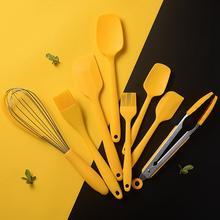 Yellow Silicone Utensil Heat-Resistant Spatula Oil Brush Egg Whisk Tool Food Tongs Kitchen Utensil Sets Kitchen Accessories