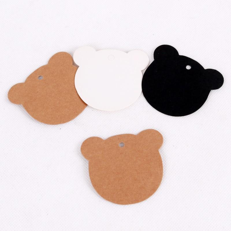 100pcs/lot Cute Bear Head Shaped Price Tags Kraft Paper Earrings Display Packaging Labels Cards Holder Wholesale