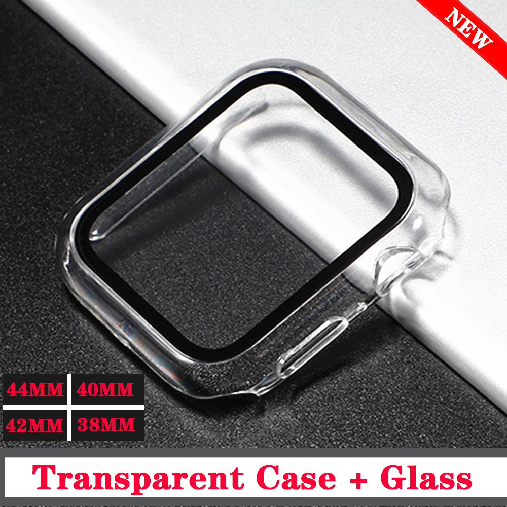 Glass+case For Apple Watch series 5 44mm 40mm iWatch 42mm 38mm Tempered Screen Protector+cover for apple watch 3 4 2 Accessories