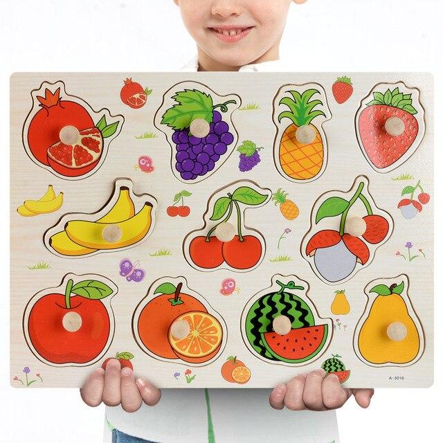 Nuovo 30cm Giocattoli Del Bambino Montessori Puzzle Di Legno A Mano Grab Educativi Puzzle di Legno per I Bambini Del Fumetto Animale Bambino Veicolo regalo 4