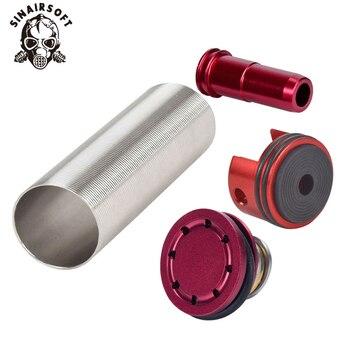 цена на SINAIRSOFT Alumnium CNC Cylinder Head /piston Head / Nozzle /Cylinder Set Flat For Airsoft M4 M16 KAC PDW AEG Paintball Shooting