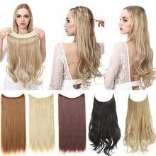 Nenhum grampo natural do cabelo de halo extensão sintético ondulado hairpiece ombre preto marrom loira rosa em linha reta falso longo pedaço de cabelo