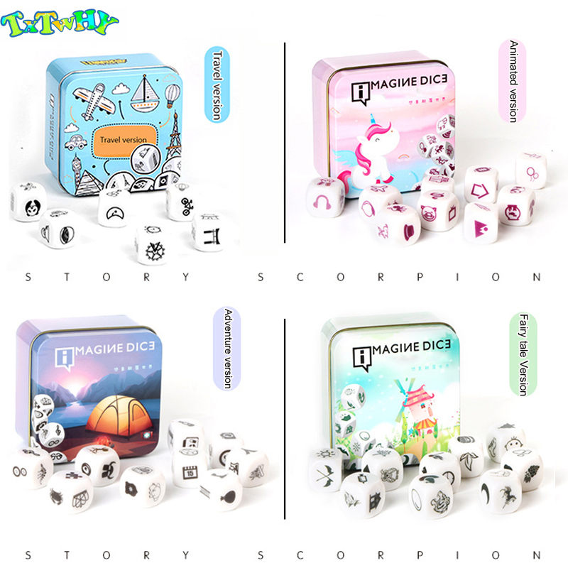 New Telling Story Dice Game Story Metal Box/Bag English Family/Party/Friends Parents with Children Funny English Game image