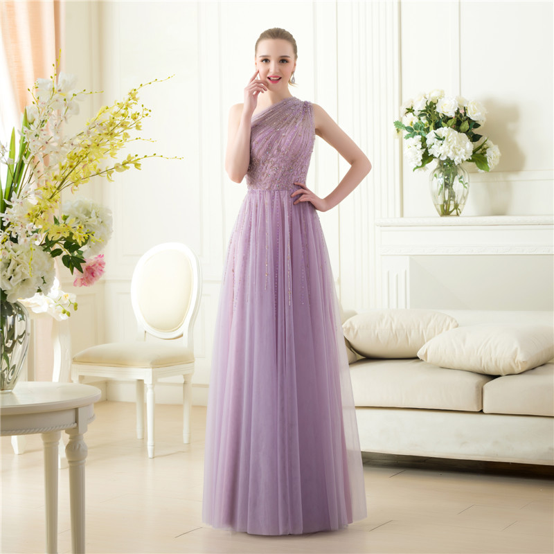 Cheap Robe De Soiree Real Photos Floor Length One Shoulder Customized Formal Party A-line Prom Gown 2018 Bridesmaid Dresses