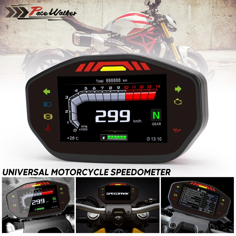 Speedometer Digital Odometer Accessories Auto Motorcycle Water Temperature Professional Multifunction LED Backlight sy Install LCD Screen Fuel Level Display For 2 4 Cylinders