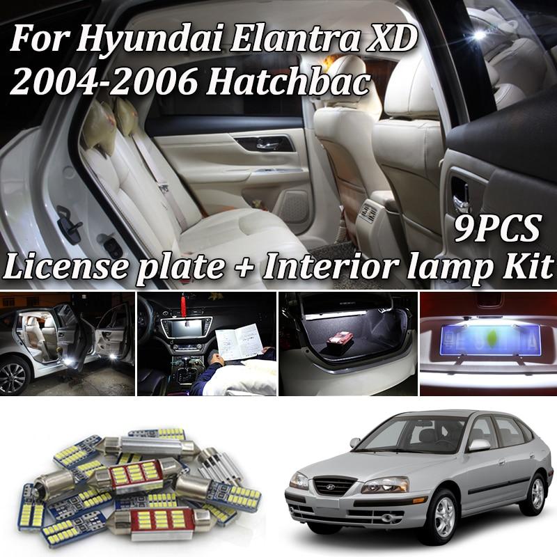 9Pcs White Canbus Led Interior Light Kit For Hyundai Elantra XD Hatchback 2004 2005 2006 Led Door Dome Trunk License Plate Light