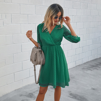 Women Dress Autumn Spring Solid Black Casual Ladies Long Sleeve A Line Dresses Fall Ruched Slim Waist Clothes 2020 Fashion Green 8