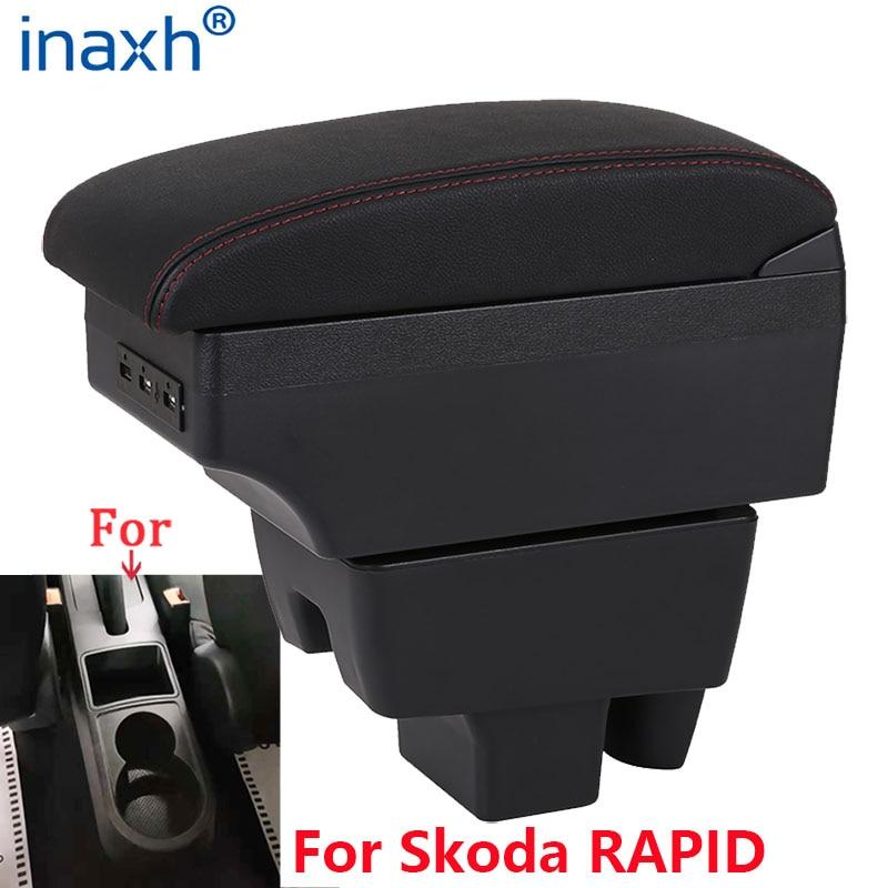 Para skoda rápido braço retrofit para volkswagen polo 2020 caixa de armazenamento centro apoio braço carro acessórios do carro interior usb