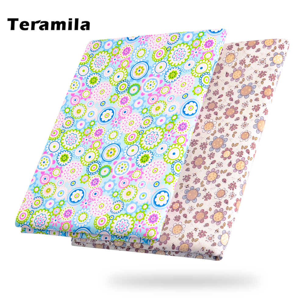 Teramila 50*160cm/PCS Floral Printed Pattern Cotton Fabric Tilda For Sewing Baby Sheet Bedding Clothing Quilting Telas Patchwork