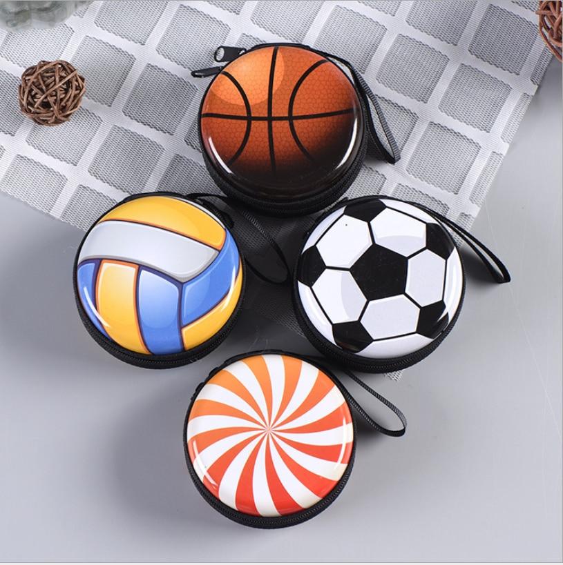 Football Basketball Coin Purse Cartoon Cute Headset Bag Small Purse Wallet Purse Children's Gift Mini Zip Coin Purse