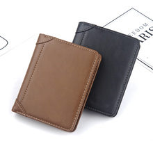 Hot Sale  new men's short wallet European and American retro leather multifunctional vertical wallet men coin purse card holder european and american simple styleluxurious genuine leather coin purse for women 4 color on sale