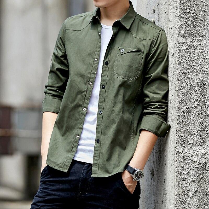 2019 New Cotton Military Shirt Men Long Sleeve Breathable Casual Shirt Man Solid Shirt With Camisa Masculina Khaki Army Green
