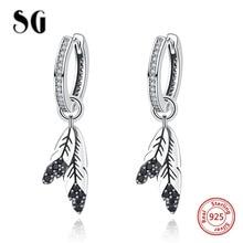 100% 925 Sterling Silver Indian tribe feather Drop Earrings Clear & Black stone earrings for Women fashion Jewelry Gift недорого
