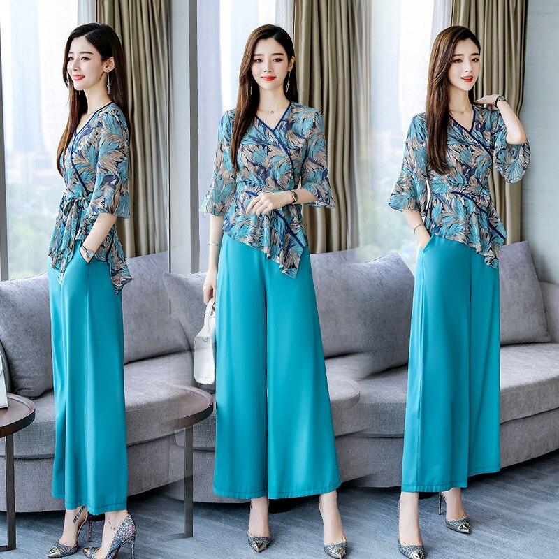 Set/Suit Skirt 2019 Summer V-neck Fashion Casual Printed Elegant Short Sleeve Simple Versatile Slim Fit