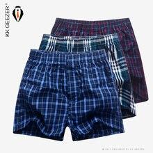 3Pcs/Packag 남자 복서 격자 무늬 속옷 100% 코튼 속옷 남성 수면 바지 반바지 브랜드 최고 품질 느슨한 Homewear 특대