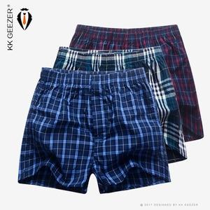 Image 1 - 3Pcs/Packag Men Boxer Plaid Underpants 100% Cotton Underwear Male Sleep Bottoms Shorts Brand Top Quality Loose Homewear Oversize