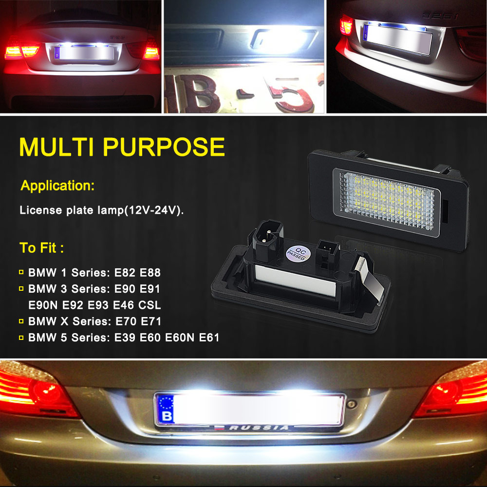 Image 4 - 2 PCS License Plate Light  Led Number Plate Holder Lamp No Error For BMW E39 E60 E60N E61 E90 E91 E90N E92 E93 E46 CSL E82-in License Plate from Automobiles & Motorcycles