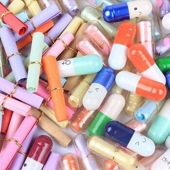 Gelegentliche Farbe 50 stücke Kreative Liebe Pillen Geschenk Rollen Pillen Glück Wishing Flasche Kapsel Liebe Briefkopf Schreibwaren Papier Umschläge