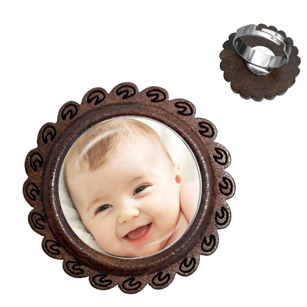Handmade Personality Custom Photo Family Baby Child Dad Mom Brother Sister Grandparents Family Portrait Glass Cabochon Wood Ring
