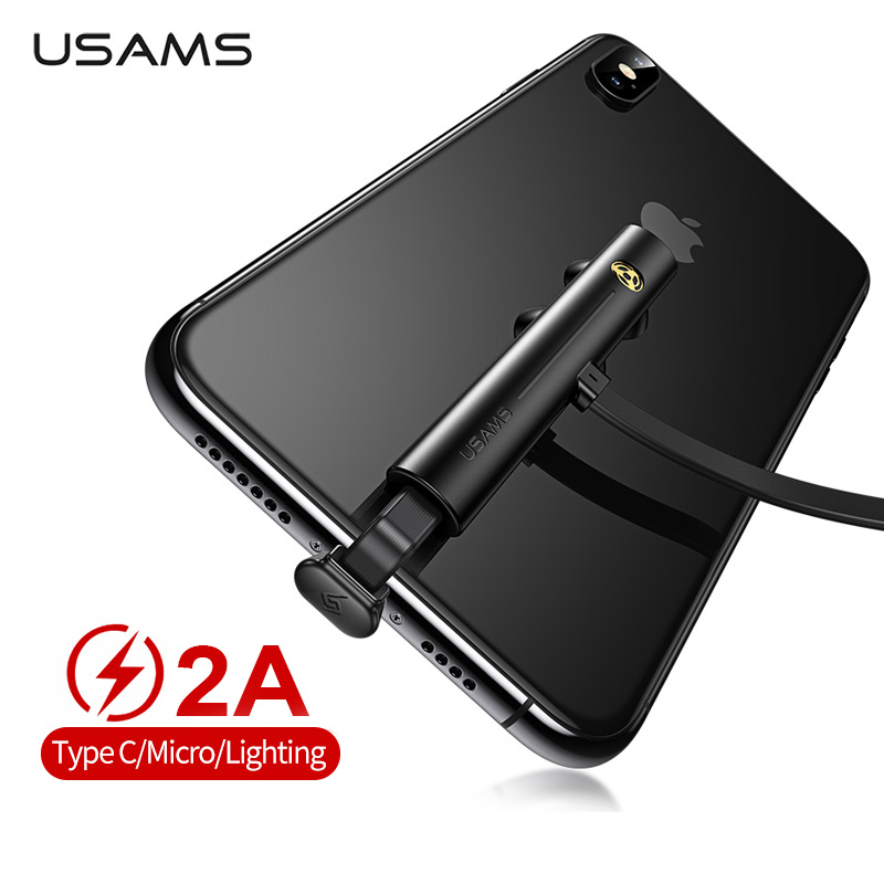 USAMS Game Charger USB Cable For iPhone Samsung Type C Fast Charging Charger Cord Gaming Charger Cable Wire For Huawei XiaoMi