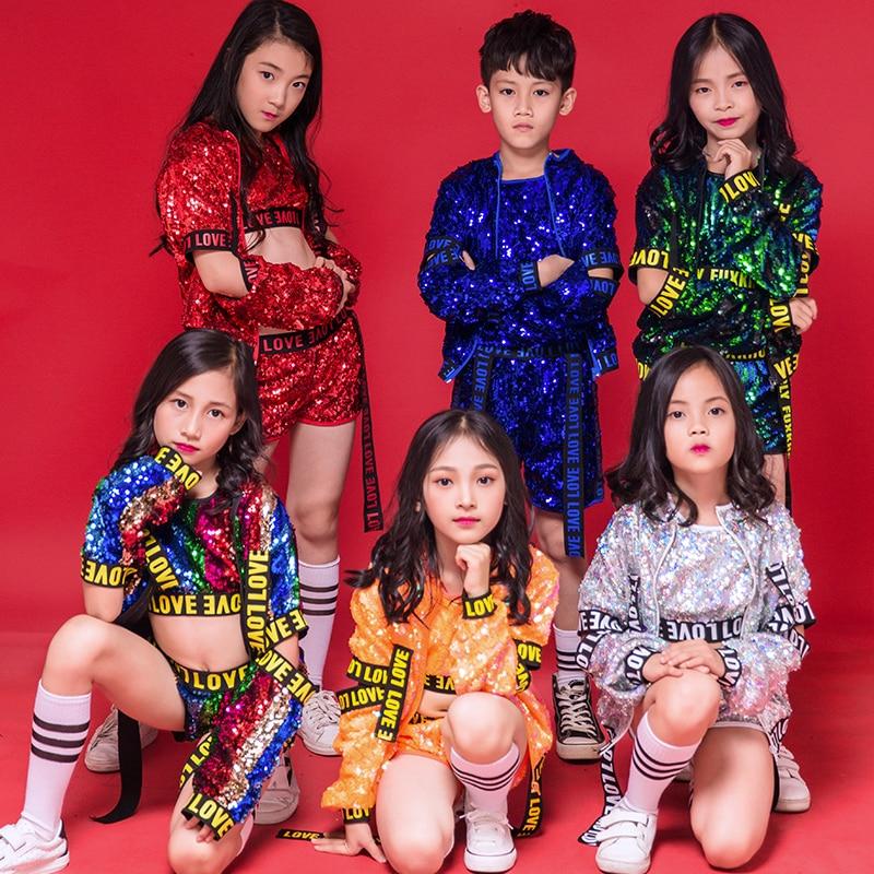 Jazz danse paillettes garçons filles rue danse Hip Hop Costume pour enfants enfant manteau gilet Shorts 3 pièces défilé Performance vêtements