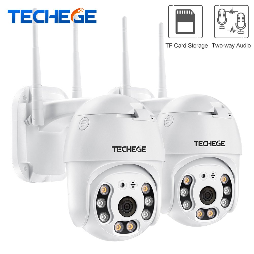 Techege HD 1080P Wireless IP Camera CCTV AI Human Detection Pan Tilt Intercom 2MP Security Camera TF Storage Outdoor Waterproof