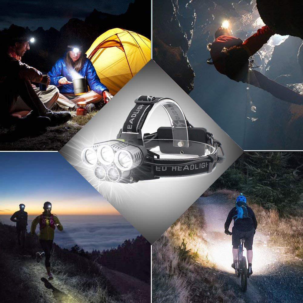 Купить с кэшбэком USB Rechargeable LED Headlamp 5 White Light or 3 White + 2 Bule Light Waterproof Led Headlight Fishing Lamp Use 18650 Battery