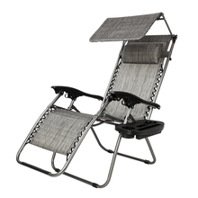 Zero Gravity Lounge Chair with Awning Leisure Chair Recliners Folding Sling Chair Beach Chair Camping Outdoor Chaise LoungeGray