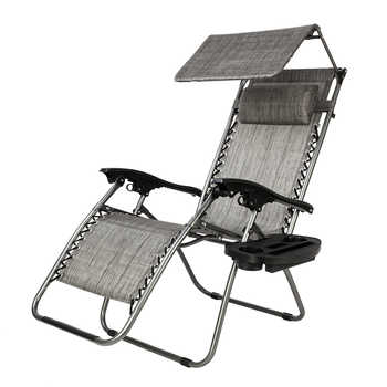 Zero Gravity Lounge Chair with Awning Leisure Chair Recliners Folding Sling Chair Beach Chair Camping Outdoor Chaise LoungeGray - DISCOUNT ITEM  20 OFF Furniture