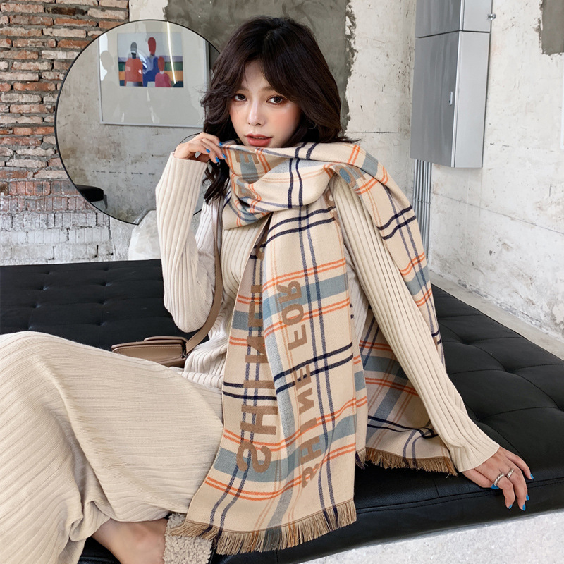 2019 Autumn Winter Classic British Plaid Striped Imitation Letter Large Long Scarf For Women Thick Warm Shawl Neck Girl Scarf