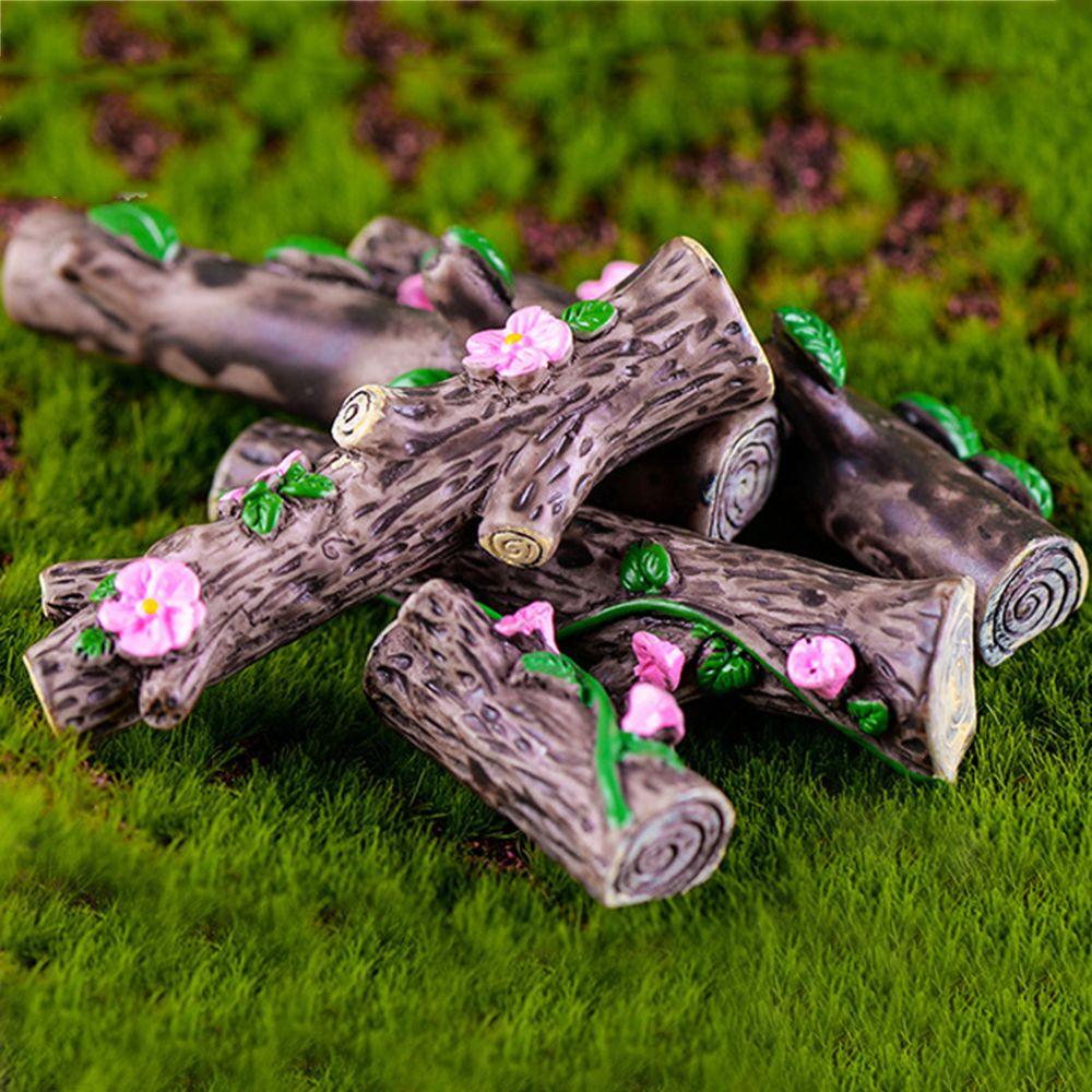 4 Pcs/set Peach Blossom Morning Glory Leave Tree Stump Bonsai Micro Landscape Moss Ornament Fairy Garden Home Decoration