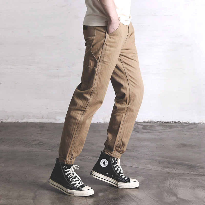 CH-0001 Read Description! Red Wind Herringbone Slim Fitting Overalls Multi-bag Retro Vintage Men's Army Casual Cargo Pants