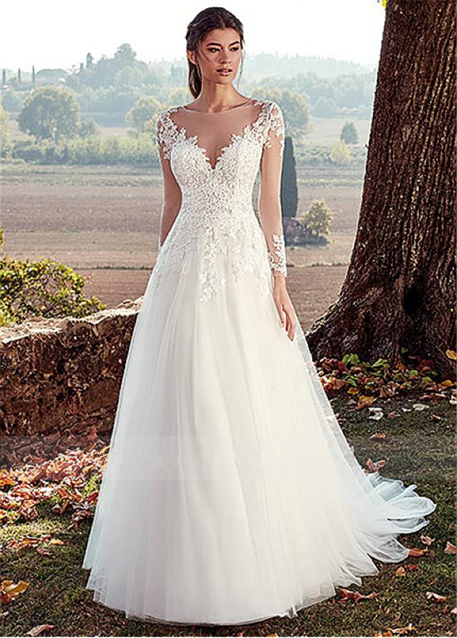 Vestido De Noiva White Ivory Tulle Wedding Dress Long Sleeves Lace Appliques Bride Dress Illusion A Line Bridal Wedding Gowns